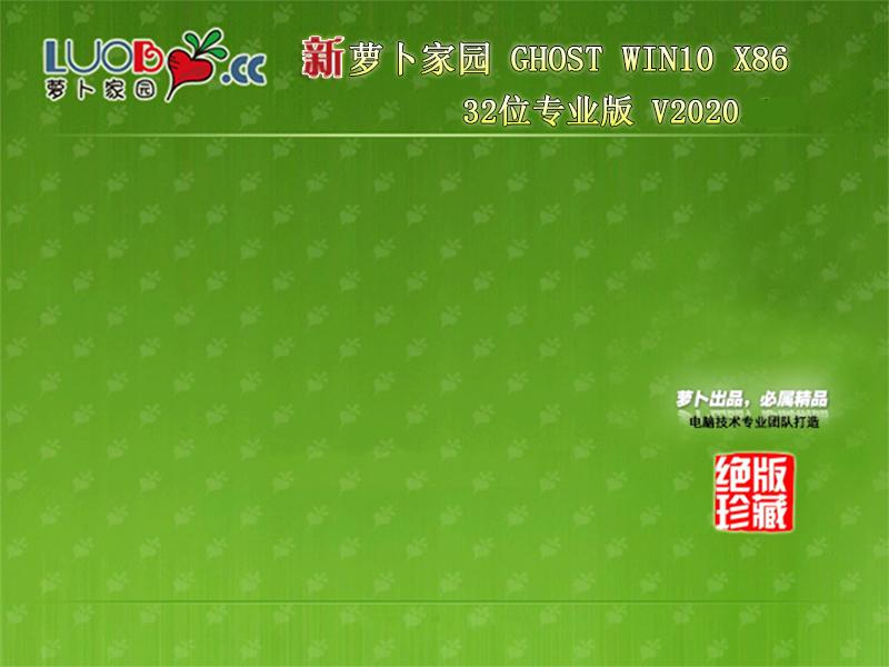 萝卜家园 Windows 10 32位专业版 V2020.12