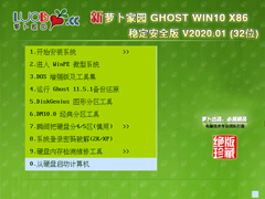 萝卜家园 GHOST WIN10 X86 稳定安全版 V2020.01 (32位)
